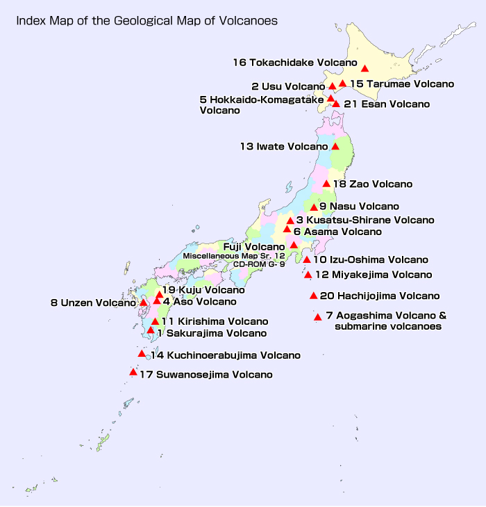 Catalogue Of Geological MapsGeological Survey Of Japan AIST - Japan map volcanoes