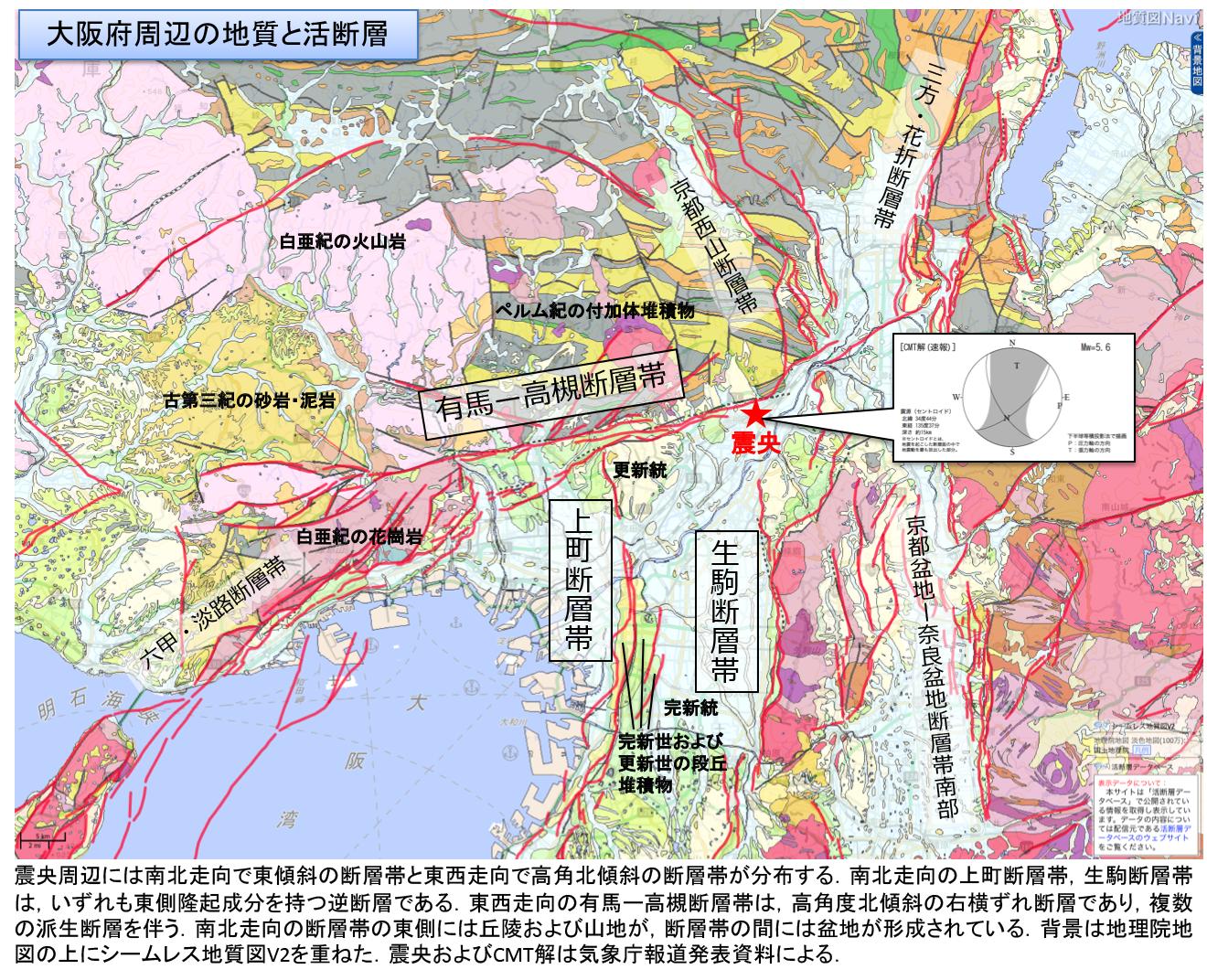 図1 大阪府周辺の地質と活断層