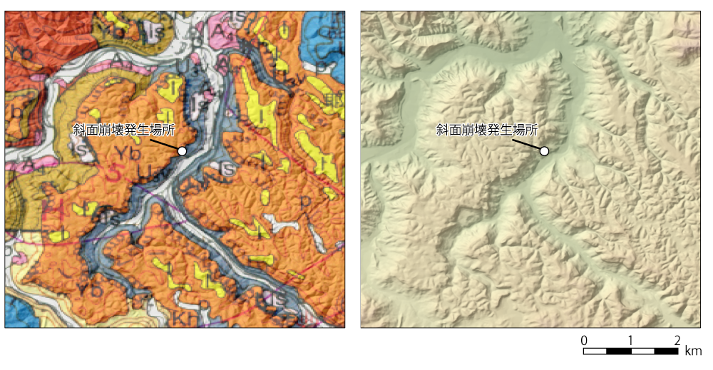図2 斜面崩壊発生地付近の地質(左)と地形(右)