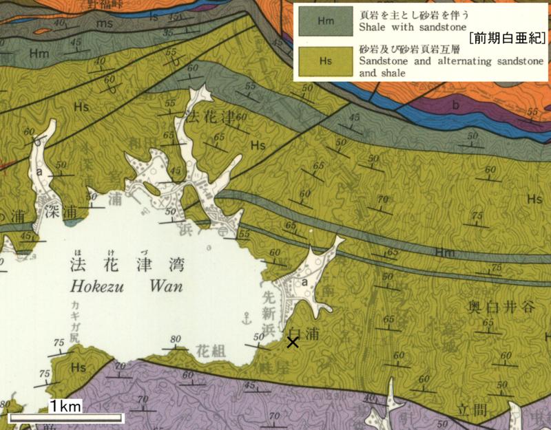 図2 5万分の1地質図幅「宇和島」(寺岡ほか, 1986) 。×印災害発生地。