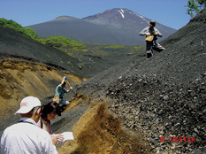 Tephra layers at Tarobo, Mt. Fuji.
