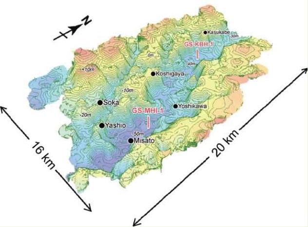 中川低地南部の沖積層の基盤地形 特性 - 表紙 中川低地南部の沖積層の基盤地形 埼玉県東部に広が